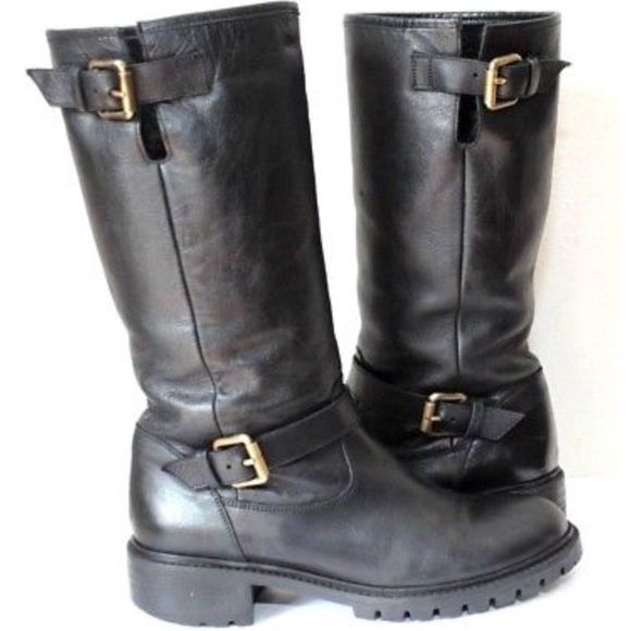 Fendi Leather Moto Boot Fur Lined Size